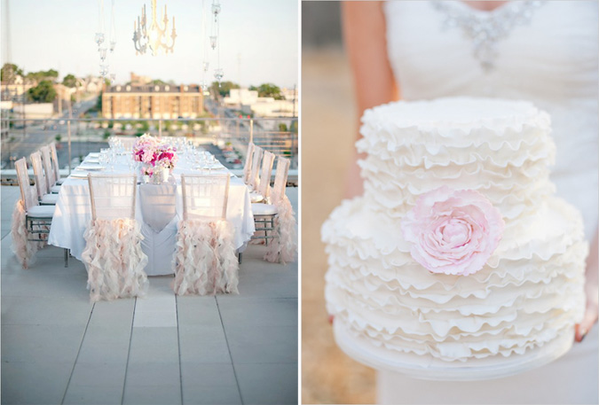 Рюши в свадебном декоре